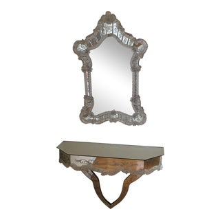 Italian Murano Glass Venetian Mirror & Console