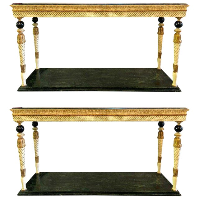 Pair of Neoclassical Style Marble Top Consoles Attributed to Maison Jansen For Sale