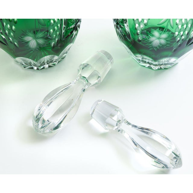 Vintage Pair Cut Crystal Decanters- A Pair For Sale - Image 10 of 13