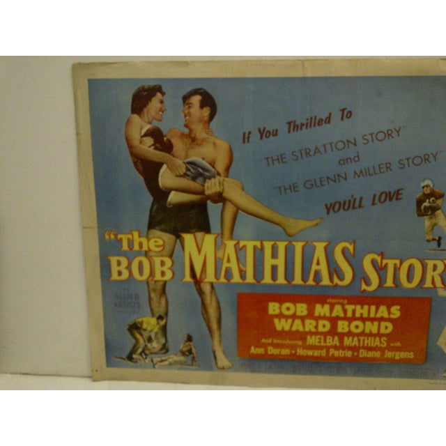 """Americana 1954 Vintage Movie Poster of """"The Bob Mathias Story"""" For Sale - Image 3 of 5"""