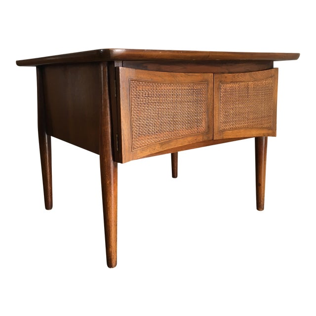 Mid-Century Modern Side Table With Caned Doors . For Sale