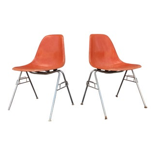 Mid Century Modern Orange Fiberglass Shell Chairs- A Pair For Sale