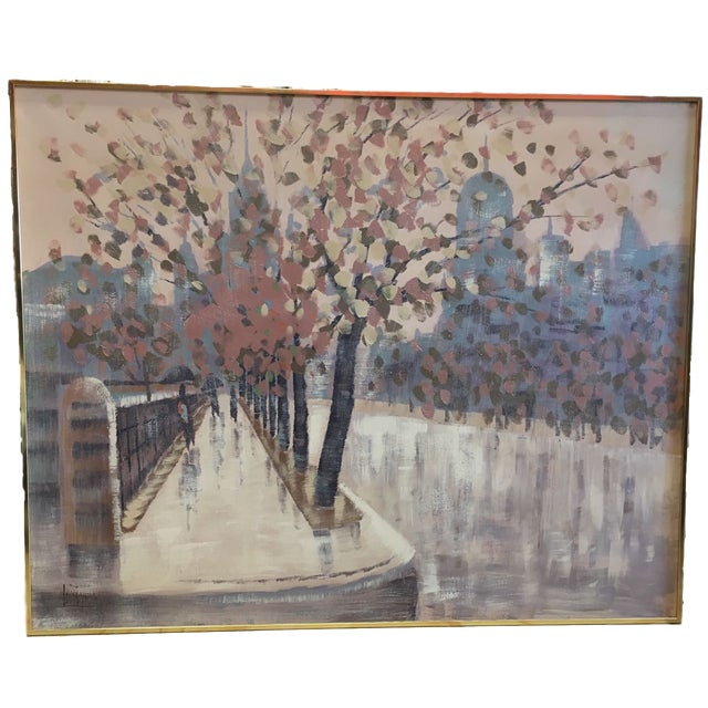 Gray Lee Reynolds Original Oil Painting Rainy Cityscape For Sale - Image 8 of 8
