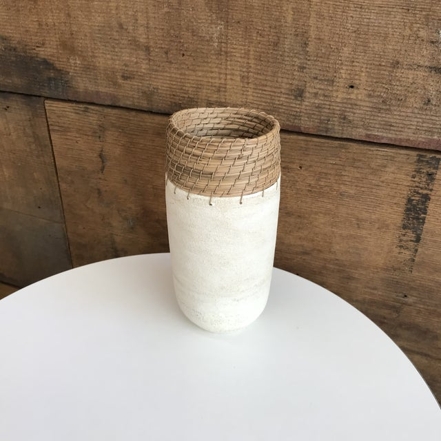 Boho Chic Hand Thrown White Ceramic Vase For Sale - Image 3 of 12