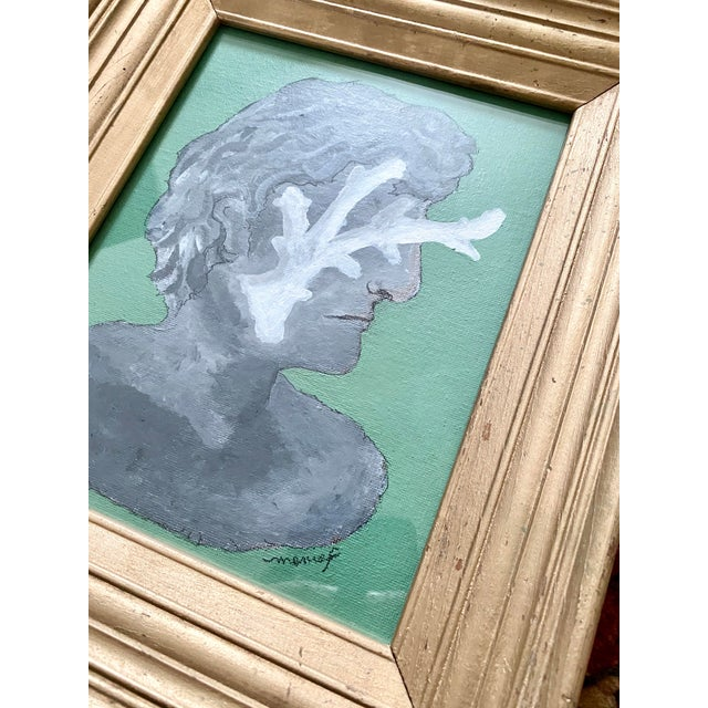 Vintage Roman Bust & Coral Fragment Painting, by Memo Faraj For Sale - Image 6 of 7