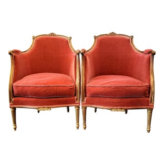 Louis XV Style Pink Mohair Velvet Upholstery Bergere Chairs- A Pair For Sale
