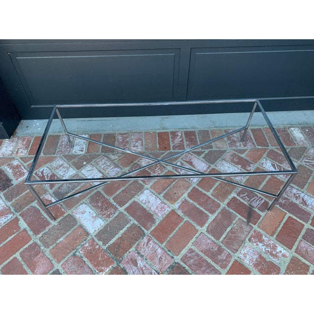Mid 20th Century Mid-Century Modern Chrome and Glass Coffee Table For Sale - Image 5 of 5