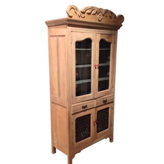 Antique Pine Cabinet With Clear Glass Doors For Sale