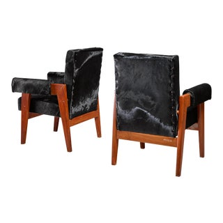 Pierre Jeanneret pair of Chandigarh High Court armchairs, 1950s For Sale