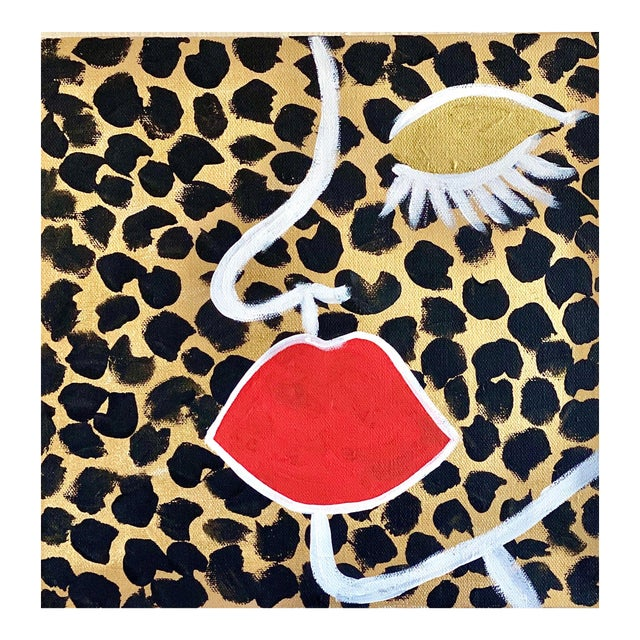 Abstract Face on Cheetah Print For Sale