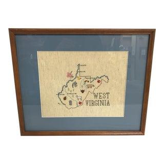 Vintage West Virginia Needlepoint Textile Art