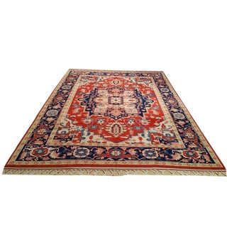 Turkish Heriz Design Hand Made Knotted True Red Wool Rug - 7' X 9'4'' - Size Cat. 7x10 8x10