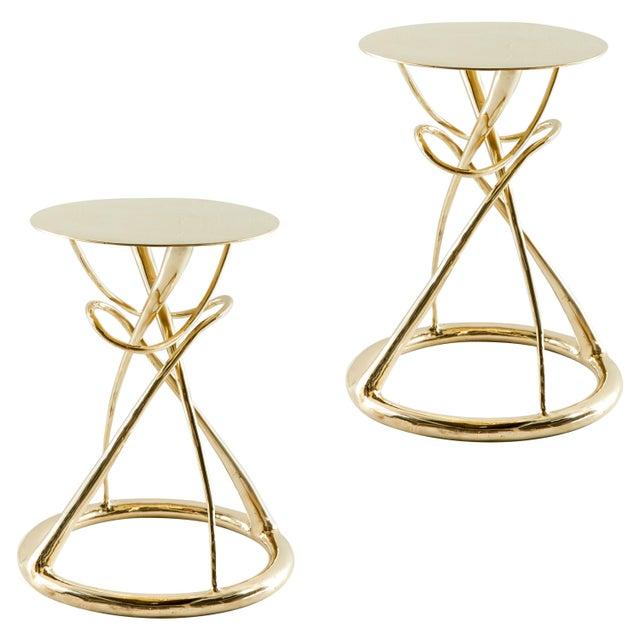 Metal Pair of Brass Gueridon Table, Gordian Node, Misaya For Sale - Image 7 of 7