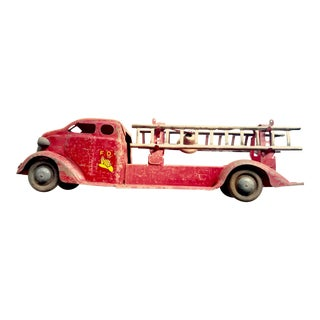 1930s Vintage Rustic Fire Truck Toy For Sale