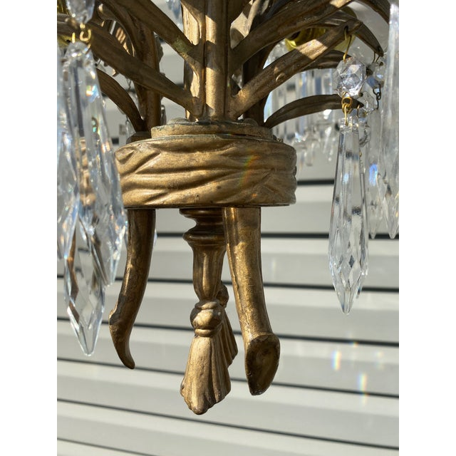 Early 20th Century Early 20th Century French Bronze and Crystal Palm Chandelier For Sale - Image 5 of 8