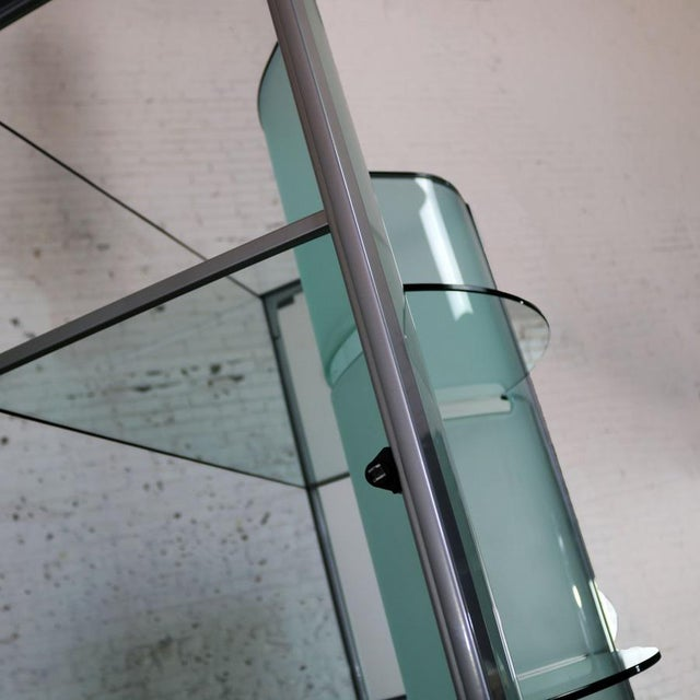 Green Modern Dual Sided Glass and Metal Enclosed Display For Sale - Image 8 of 13