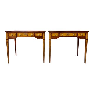 Italian Burl Wood Writing Tables - a Pair For Sale