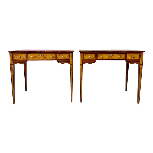 Pair of Italian Burl Wood Writing Tables For Sale