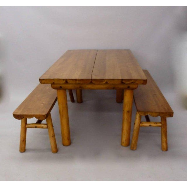 Brown Knotty Pine Rustic Adirondack Ranch or Cottage Dining Table With Benches For Sale - Image 8 of 10