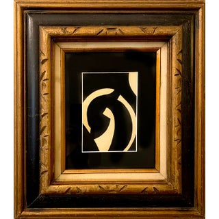 Original Abstract Geometric Acrylic Painting in Carved Vintage Frame For Sale