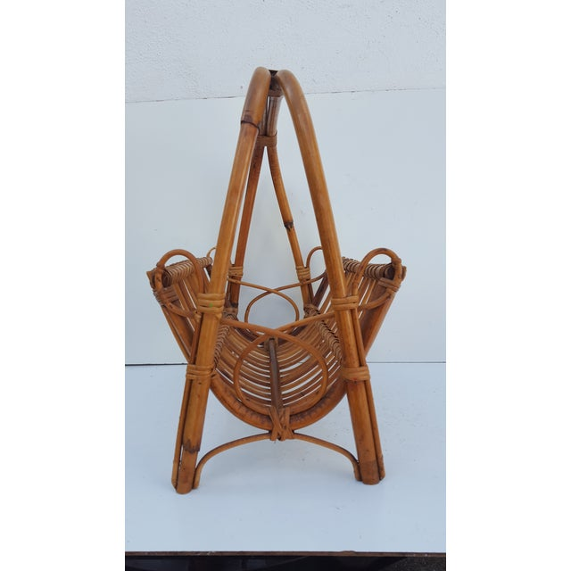 Rattan Italian Original Franco Albini Rattan and Bamboo Magazine Rack For Sale - Image 7 of 10