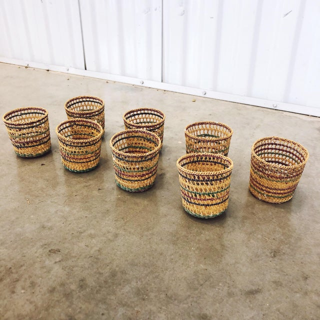 Vintage 1970s basketweave cup holders. Very delicate straw and intricate designs. Would make adorable small plant or...
