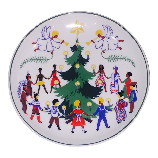Vintage Lyngby Christmas Around the World Plate For Sale