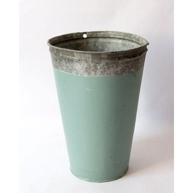 Turquoise Vintage Turquoise Galvanized Metal Vessel For Sale - Image 8 of 8