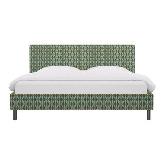 King Tailored Platform Bed in Teal Geo For Sale