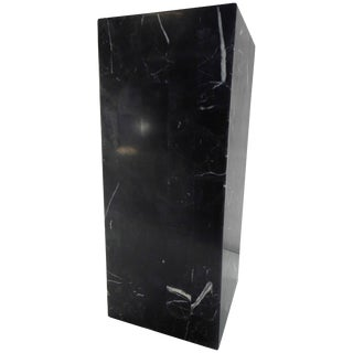 Short Black Marble Square Pedestal For Sale