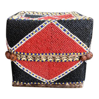 Large Indonesian Hand Beaded Basket With Lid For Sale