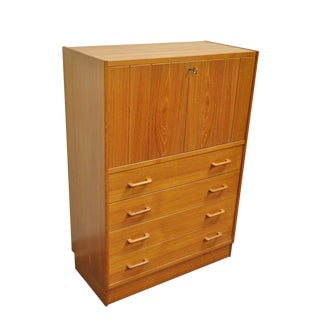 Vintage Mid-Century Danish Modern Teak Drop Front Dresser Secretary Desk Cabinet For Sale