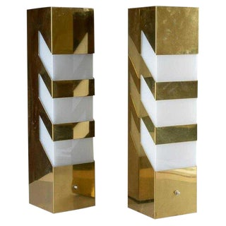 Pair Mid-Century Modern Geometric Brass Lamps For Sale