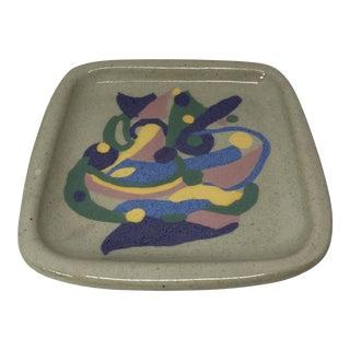 Vintage Postmodern 90s Artist Studio Pottery Ceramic Tray For Sale
