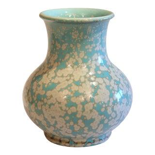 Japanese Studio Porcelain Antique Old Crystalline Sky Blue Hu Form Vase For Sale