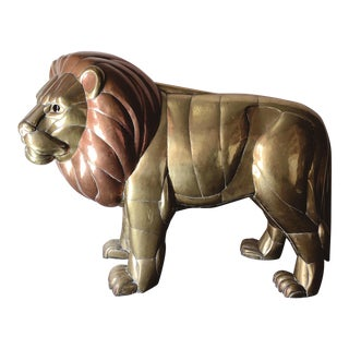 Large Original Copper and Brass Lion Sculpture by Sergio Bustamante For Sale