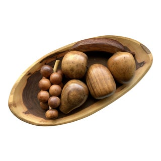 Wooden Fruit & Walnut Bowl - Set of 7 For Sale
