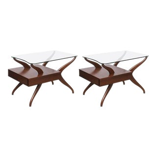 Pair of Kagan End Tables in Glass and Walnut, 1950s, USA For Sale