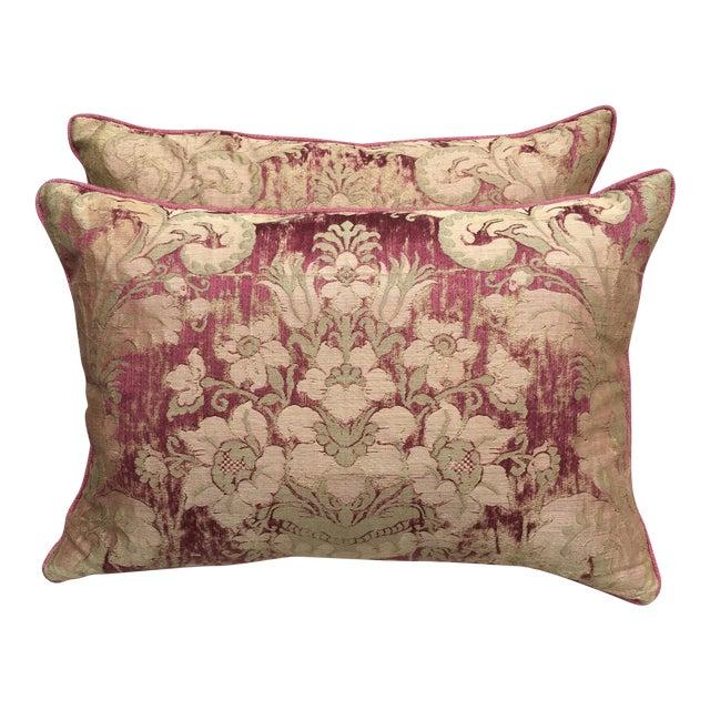 Custom Antique Textile Pillows - A Pair - Image 1 of 4