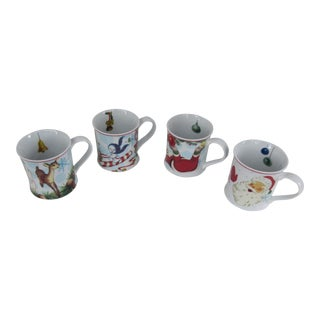Vintage Style Illustrations Christmas Mugs-4 Pieces Nib For Sale