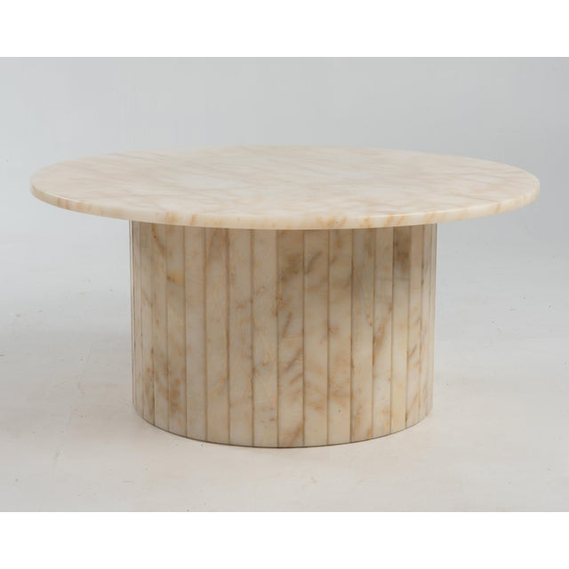 Hollywood Regency Round Alabaster Coffee Table on a Drum Base For Sale - Image 13 of 13