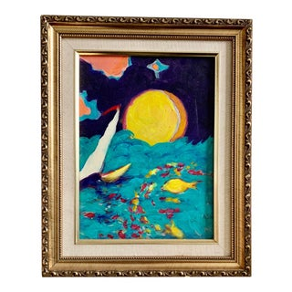 """""""Sunset Sailing"""" Mid Century Original Sailboat Acrylic Painting in Gilt Frame For Sale"""