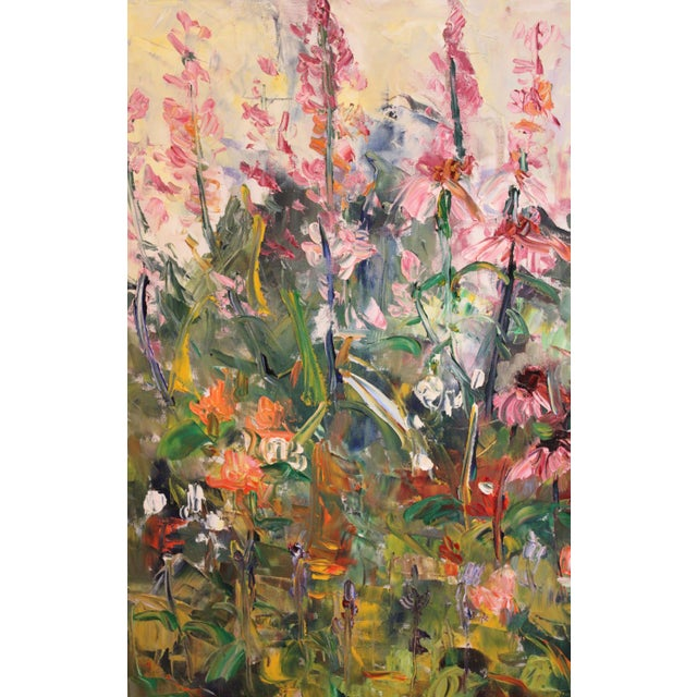 """Paint Large Impressionist Botanical Framed Original Oil Painting, """"Fire Candle"""" by Geraldine Harty For Sale - Image 7 of 13"""