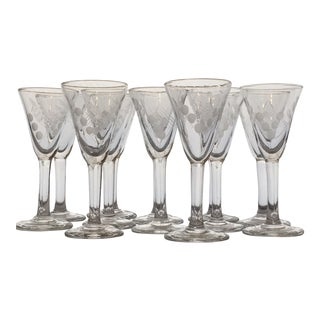 Vintage Etched Shot Glasses - Set of 12