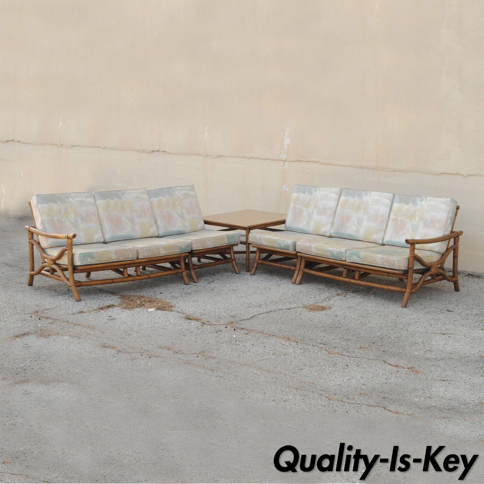 Item: Vintage 5 Piece Mid Century Modern Ficks Reed Tiki Sofa Set Details: 2