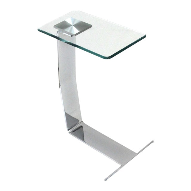 Side Table Satin Steel Polished Steel Glass in Style of Dia For Sale