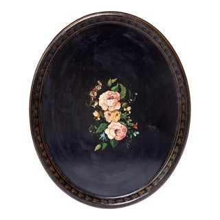 English Hand Painted Black Tin Tray For Sale