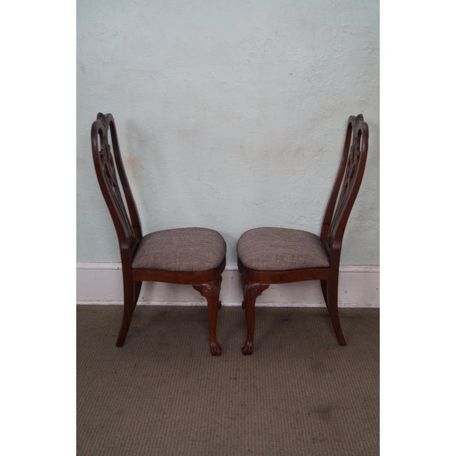 Queen Anne Ethan Allen 18th Century Collection Mahogany Side Dining Chairs - a Pair For Sale - Image 3 of 10