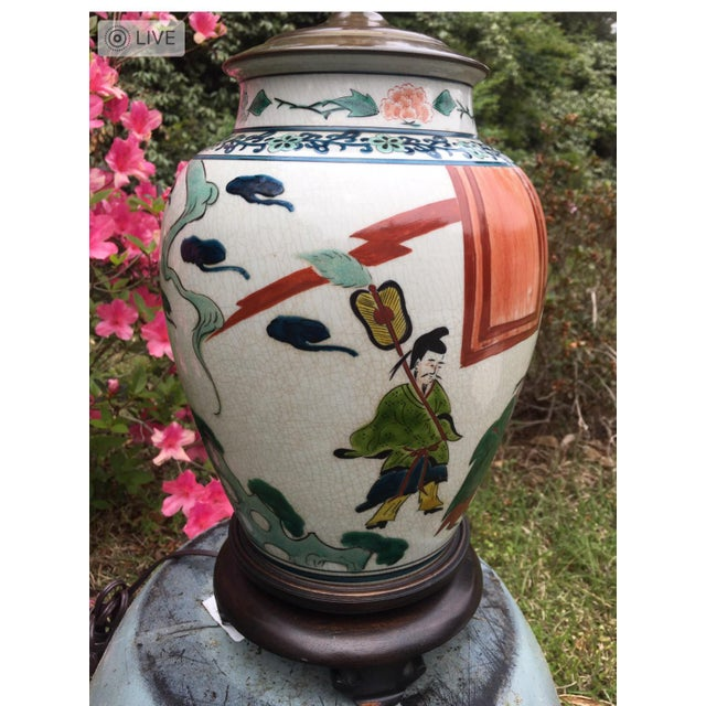 Chinese Antique Hand Painted Ginger Jar Lamp For Sale - Image 3 of 5