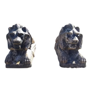 Estate Lion Statues - A Pair For Sale
